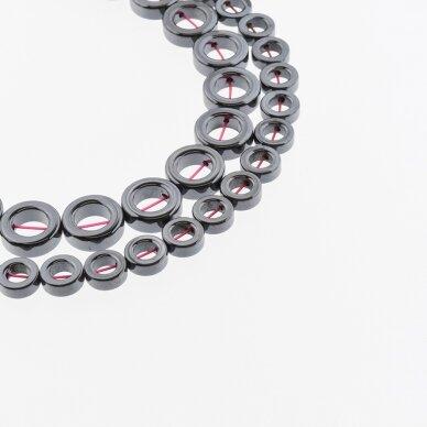 Hematitas, regeneruotas, žiedo forma, juoda spalva, 39-40 cm/gija, 8, 10, 12, 14, 16 mm