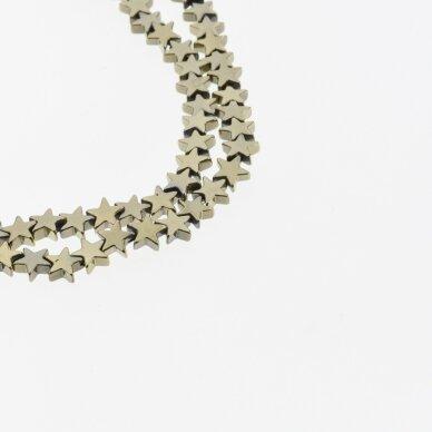 Hematitas, regeneruotas, žvaigždės forma, Chaki aukso spalva, 39-40 cm/gija, 4, 6, 8 mm