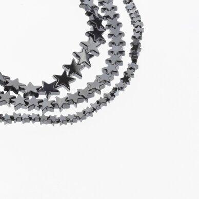 Hematite, Reconstituted, Star Bead, Black, 39-40 cm/strand, 4 mm