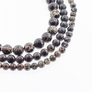 Impression jaspis (kinijos geltonojo vaško akmuo), natūralus, apvali forma, juodai ruda spalva, 37-39 cm/gija, 4, 6, 8, 10, 12 mm