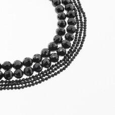 Juodas turmalinas/šerlas, natūralus, AB kokybė, briaunuotas, apvali forma, 37-39 cm/gija, 2, 6 mm