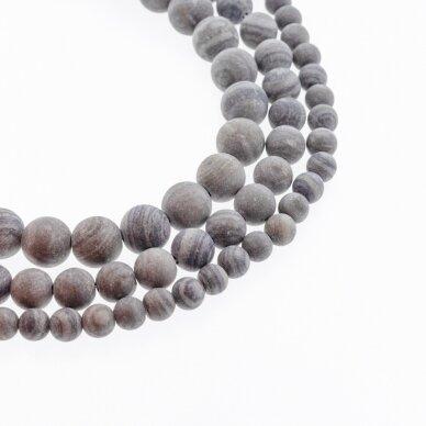 Juodas malachito jaspis (marmuras), natūralus, AB kokybė, matinis, apvali forma, 37-39 cm/gija, 4, 6, 8, 10, 12 mm