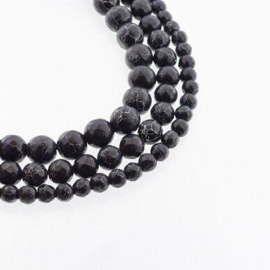 Juodas marmuras, natūralus, briaunuotas, apvali forma, 37-39 cm/gija, 4, 6, 8, 10, 12 mm