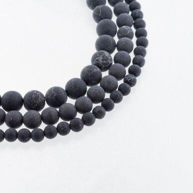Juodas marmuras, natūralus, matinis, apvali forma, 37-39 cm/gija, 4, 6, 8, 10, 12 mm