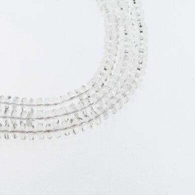 Kalnų krištolas, regeneruotas sintetinis, abacus rondelės forma, skaidri balta spalva, 37-39 cm/gija, 6x4 mm