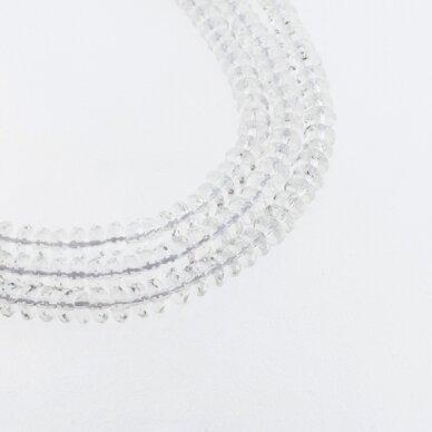 Kalnų krištolas, regeneruotas sintetinis, briaunuotas, abacus rondelės forma, skaidri balta spalva, 37-39 cm/gija, 6x4 mm