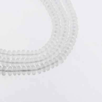 Kalnų krištolas, regeneruotas sintetinis, matinis, abacus rondelės forma, skaidri balta spalva, 37-39 cm/gija, 6x4 mm