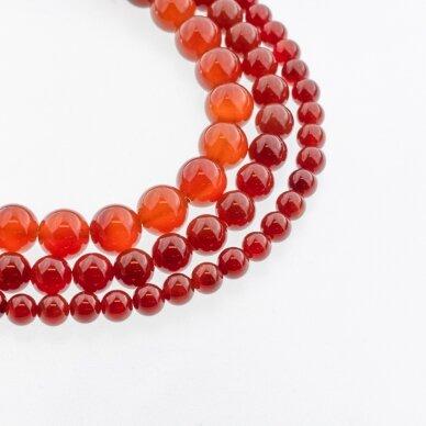 Karneolis, natūralus, B kokybė, dažytas, apvali forma, raudona spalva, 37-39 cm/gija, 4, 6, 8, 10, 12, 14, 16 mm