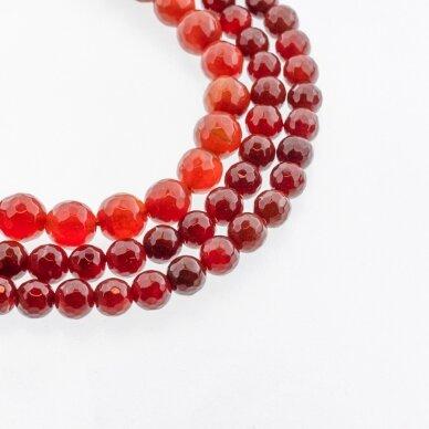 Karneolis, natūralus, B kokybė, dažytas, briaunuotas, apvali forma, raudona spalva, 37-39 cm/gija, 4, 6, 8, 10, 12, 14, 16 mm