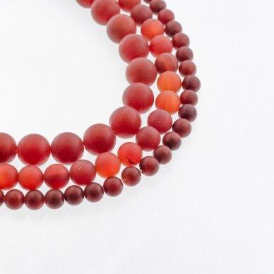 Karneolis, natūralus, B kokybė, dažytas, matinis, apvali forma, raudona spalva, 37-39 cm/gija, 4, 6, 8, 10, 12, 14, 16 mm
