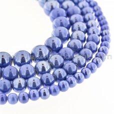 Keramika, apvali forma, #A32 džinsinė mėlyna spalva, apie 55 vnt./gija, 6, 8, 10, 12, 14, 16, 18, 20, 28, 32, 35 mm