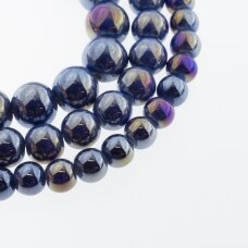Keramika, apvali forma, #B16 karališka mėlyna spalva, AB efektas, apie 55 vnt./gija, 6, 8, 10, 12, 14, 16, 18, 20, 28, 32, 35 mm