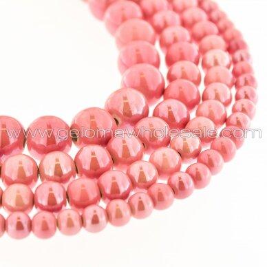 Keramika, apvali forma, #A02 rožinė pudros spalva, apie 55 vnt./gija, 6, 8, 10, 12, 14, 16, 18, 20, 28, 32, 35 mm