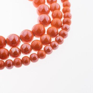 Keramika, apvali forma, #A05 oranžinė spalva, apie 55 vnt./gija, 6, 8, 10, 12, 14, 16, 18, 20, 28, 32, 35 mm