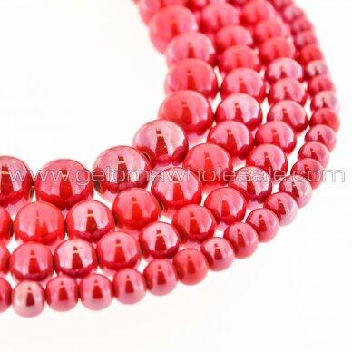 Keramika, apvali forma, #A06 raudonos braškės atspalvis, apie 55 vnt./gija, 6, 8, 10, 12, 14, 16, 18, 20, 28, 32, 35 mm