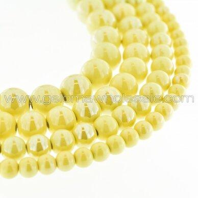 Ceramic, Round Bead, #A09 Light Yellow, about 55 pcs/strand, 6, 8, 10, 12, 14, 16, 18, 20, 28, 32, 35 mm
