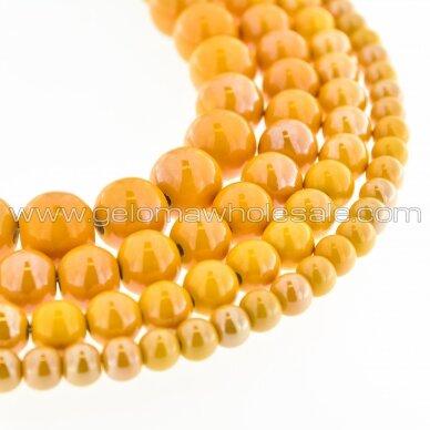 Keramika, apvali forma, #A11 geltono abrikoso atspalvio, apie 55 vnt./gija, 6, 8, 10, 12, 14, 16, 18, 20, 28, 32, 35 mm