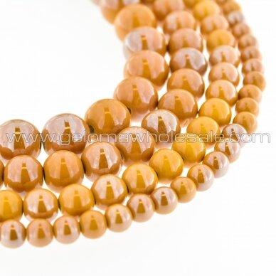 Ceramic, Round Bead, #A12 Light Caramel, about 55 pcs/strand, 6, 8, 10, 12, 14, 16, 18, 20, 28, 32, 35 mm