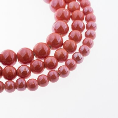 Ceramic, Round Bead, #A14 Carrot Red, about 55 pcs/strand, 6, 8, 10, 12, 14, 16, 18, 20, 28, 32, 35 mm