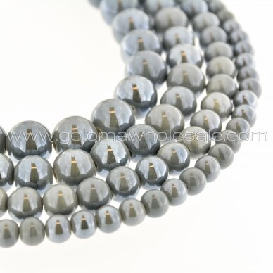 Ceramic, Round Bead, #A30 Grey, about 55 pcs/strand, 6, 8, 10, 12, 14, 16, 18, 20, 28, 32, 35 mm
