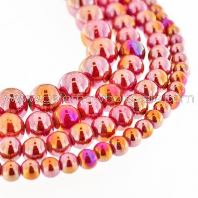 Ceramic, Round Bead, #B04 Strawberry Red, AB Effect, about 55 pcs/strand, 6, 8, 10, 12, 14, 16, 18, 20, 28, 32, 35 mm
