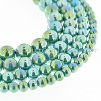 Ceramic, Round Bead, #B18 Sea Green, AB Effect, about 55 pcs/strand, 6, 8, 10, 12, 14, 16, 18, 20, 28, 32, 35 mm