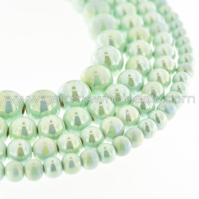 Ceramic, Round Bead, #B21 Pastel Turquoise, AB Effect, about 55 pcs/strand, 6, 8, 10, 12, 14, 16, 18, 20, 28, 32, 35 mm