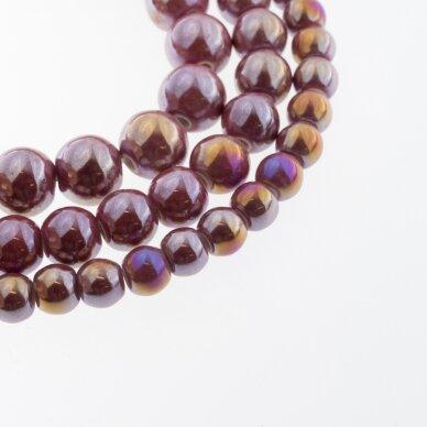 Ceramic, Round Bead, #B24 Dark Pink, AB Effect, about 55 pcs/strand, 6, 8, 10, 12, 14, 16, 18, 20, 28, 32, 35 mm