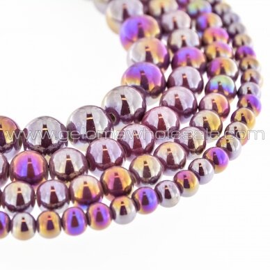 Ceramic, Round Bead, #B29 Berry Red, AB Effect, about 55 pcs/strand, 6, 8, 10, 12, 14, 16, 18, 20, 28, 32, 35 mm