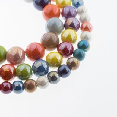 Ceramic, Round Bead, #B38 Mixed Colors, AB Effect, about 55 pcs/strand, 6, 8, 10, 12, 14, 16, 18, 20, 28, 32, 35 mm