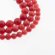 Kinų baltas žadeitas, natūralus, dažytas, apvali forma, #19 šviesiai raudona spalva, 37-39 cm/gija, 6, 8, 10, 12 mm