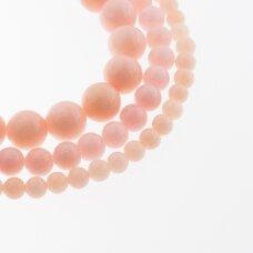 Kinų baltas žadeitas, natūralus, dažytas, apvali forma, #27 persikinė rožinė spalva, 37-39 cm/gija, 6, 8, 10, 12 mm