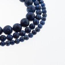 Kinų baltas žadeitas, natūralus, dažytas, apvali forma, #43 karališka mėlyna spalva su juodais taškeliais, 37-39 cm/gija, 6, 8, 10, 12 mm