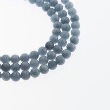 Kinų baltas žadeitas, natūralus, dažytas, apvali forma, #44 džinsinė mėlyna spalva, 37-39 cm/gija, 6, 8, 10, 12 mm