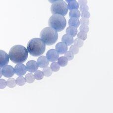 Kinų baltas žadeitas, natūralus, dažytas, apvali forma, #48 rugiagėlių mėlyna spalva, 37-39 cm/gija, 6, 8, 10, 12 mm