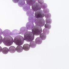 Kinų baltas žadeitas, natūralus, dažytas, apvali forma, šviesiai purpurinė spalva, 37-39 cm/gija, 6, 8, 10, 12 mm