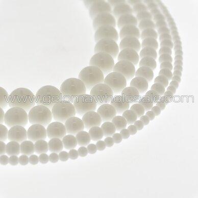 Kinų baltas žadeitas, natūralus, apvali forma, 37-39 cm/gija, 4, 6, 8, 10, 12, 14 mm