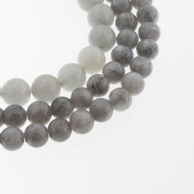 Kinų baltas žadeitas, natūralus, dažytas, apvali forma, #03 tamsiai pilka spalva, 37-39 cm/gija, 6, 8, 10, 12 mm