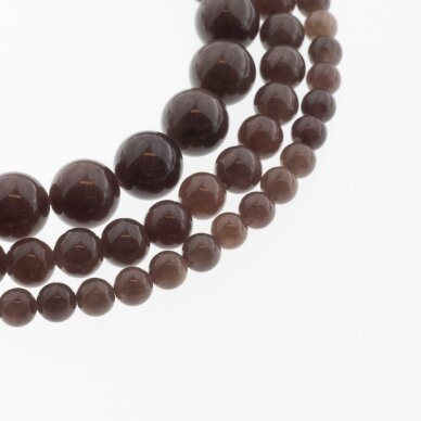 Kinų baltas žadeitas, natūralus, dažytas, apvali forma, #07 tamsiai ruda spalva, 37-39 cm/gija, 6, 8, 10, 12 mm
