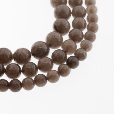Kinų baltas žadeitas, natūralus, dažytas, apvali forma, #09 kavos spalva, 37-39 cm/gija, 6, 8, 10, 12 mm