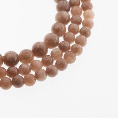 Kinų baltas žadeitas, natūralus, dažytas, apvali forma, #11 pieniško šokolado spalva, 37-39 cm/gija, 6, 8, 10, 12 mm