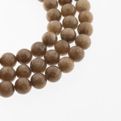 Chinese White Jade (Quartz), Natural, Dyed, Round Bead, #12 Wood Brown, 37-39 cm/strand, 6, 8, 10, 12 mm