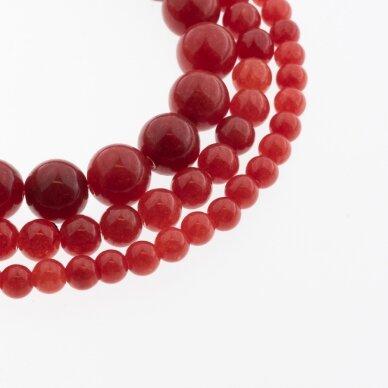 Kinų baltas žadeitas, natūralus, dažytas, apvali forma, #18 raudona spalva, 37-39 cm/gija, 6, 8, 10, 12 mm