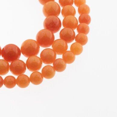 Kinų baltas žadeitas, natūralus, dažytas, apvali forma, #20 oranžinė spalva, 37-39 cm/gija, 6, 8, 10, 12 mm
