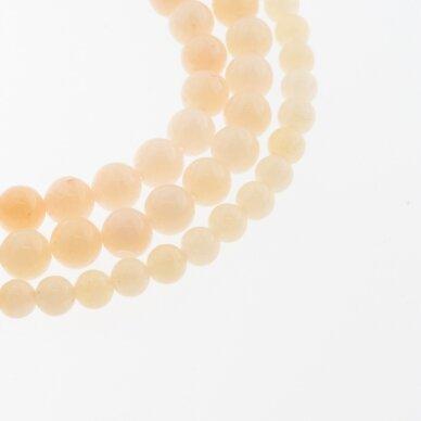 Kinų baltas žadeitas, natūralus, dažytas, apvali forma, #23 šviesiai karamelinė spalva, 37-39 cm/gija, 6, 8, 10, 12 mm