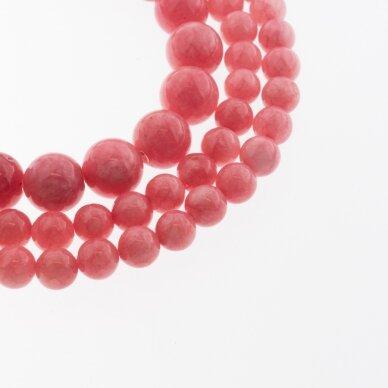 Kinų baltas žadeitas, natūralus, dažytas, apvali forma, #26 tamsiai rožinė spalva, 37-39 cm/gija, 6, 8, 10, 12 mm