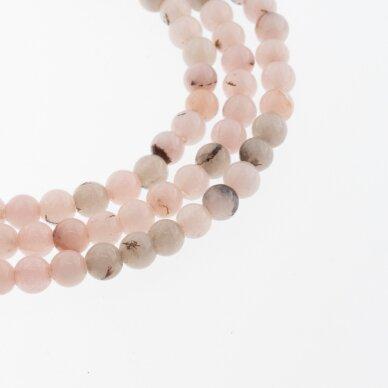 Kinų baltas žadeitas, natūralus, dažytas, apvali forma, #30 rausvai pilka spalva, 37-39 cm/gija, 6, 8, 10, 12 mm