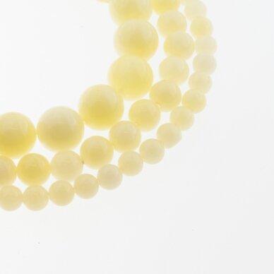 Kinų baltas žadeitas, natūralus, dažytas, apvali forma, #31 pastelinė geltona spalva, 37-39 cm/gija, 6, 8, 10, 12 mm