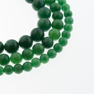 Kinų baltas žadeitas, natūralus, dažytas, apvali forma, #33 tamsiai žalia spalva, 37-39 cm/gija, 6, 8, 10, 12 mm