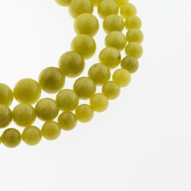 Kinų baltas žadeitas, natūralus, dažytas, apvali forma, #34 alyvuogių spalva, 37-39 cm/gija, 6, 8, 10, 12 mm